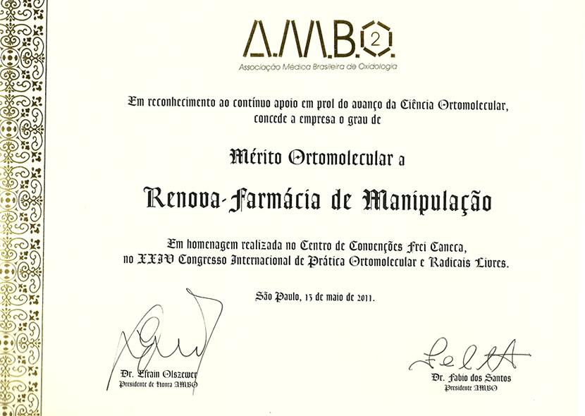 Certificado: Associação médica brasileira de Oxidologia