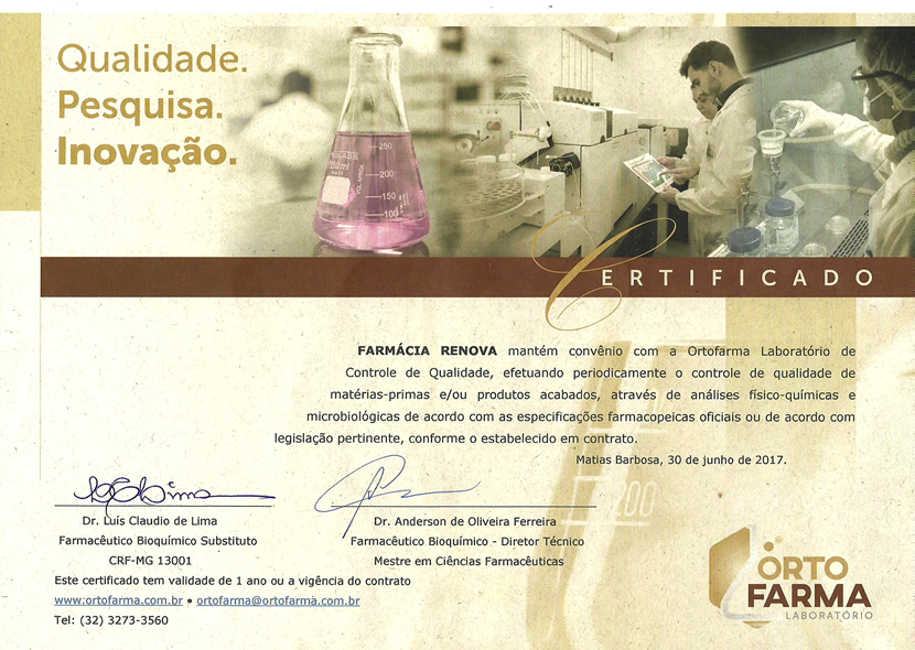 Certificado ORTOFARMA